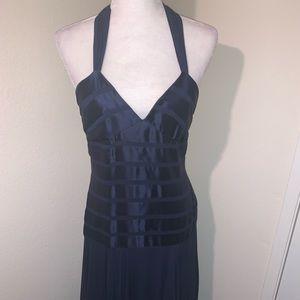 BCBG Max Azria Silk Navy Halter Gown